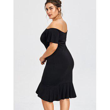 Plus Size Off The Shoulder Overlap Mermaid Dress - BLACK 3XL