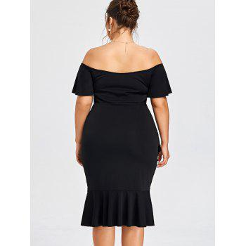 Plus Size Off The Shoulder Overlap Mermaid Dress - BLACK BLACK
