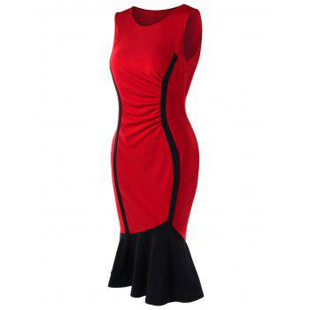 Two Tone Mermaid Dress - RED M