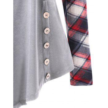 Plus Size Plaid Panel Raglan Sleeve Asymmetric Top - LIGHT GRAY 4XL