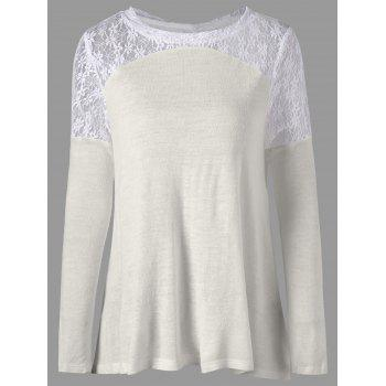 Long Sleeve Back Tie Up Lace Insert Top - OFF-WHITE OFF WHITE