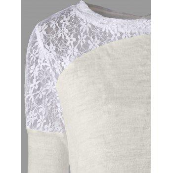 Long Sleeve Back Tie Up Lace Insert Top - OFF WHITE OFF WHITE