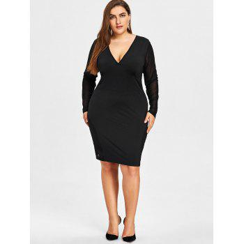 Plus Size Sheer Mesh Panel Plunging Dress - BLACK XL