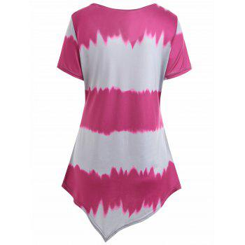 Plus Size Asymmetrical Ombre Tee - ROSE RED 4XL