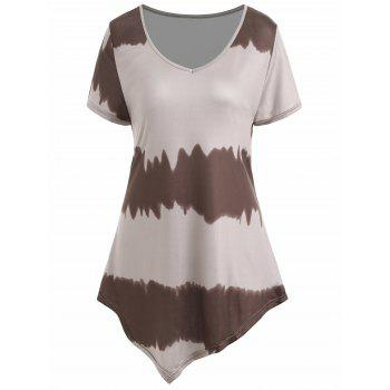 Plus Size Asymmetrical Ombre Tee - COFFEE COFFEE