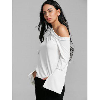 Flare Sleeve Skew Neck Blouse - WHITE S