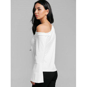 Flare Sleeve Skew Neck Blouse - WHITE XL