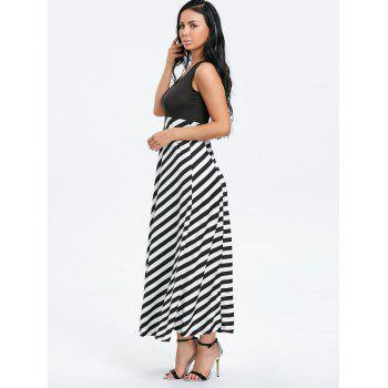 Striped Sleeveless Maxi Dress - BLACK BLACK
