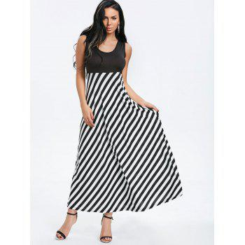 Striped Sleeveless Maxi Dress - BLACK M