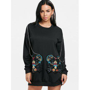 Mini Sequined Sweatshirt Dress - BLACK S