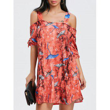 Print Tie Sleeve Open Shoulder Dress - COLORMIX COLORMIX
