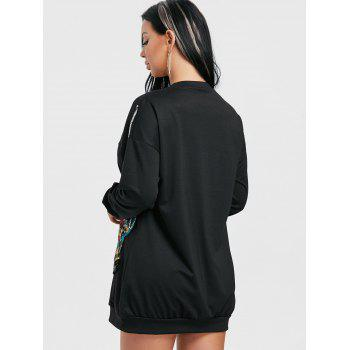 Mini Sequined Sweatshirt Dress - BLACK L