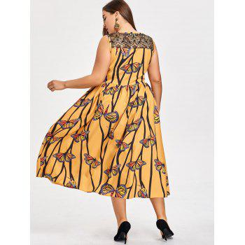 Plus Size Butterfly Print Lace Yoke Dress - GOLDEN GOLDEN