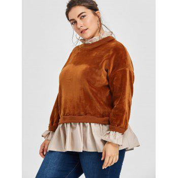 Flocage Velvet Drop taille taille plus sweat-shirt - BRUN ONE SIZE