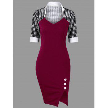 Houndstooth Side Slit Tight Dress - WINE RED WINE RED