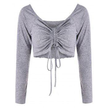 Low Cut Empire Waist Cropped Top - GRAY GRAY
