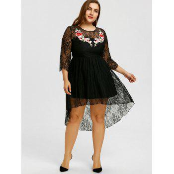 Plus Size Embroidery Lace High Low Hem Dress - BLACK BLACK