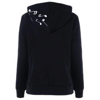 Two Tone Music Note Hoodie - BLACK BLACK