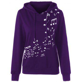 Two Tone Music Note Hoodie - PURPLE XL
