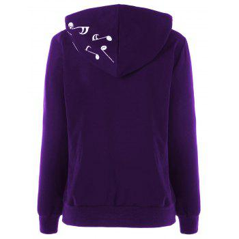 Two Tone Music Note Hoodie - PURPLE PURPLE