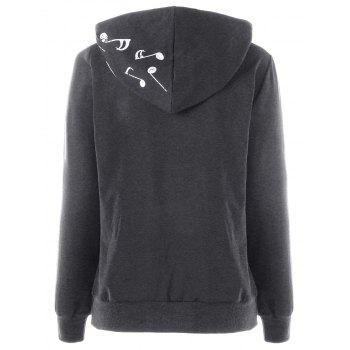 Two Tone Music Note Hoodie - DEEP GRAY L