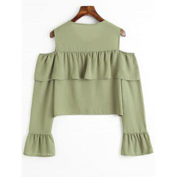 Cold Shoulder Bell Sleeve Flounce Chiffon Blouse - PEA GREEN L