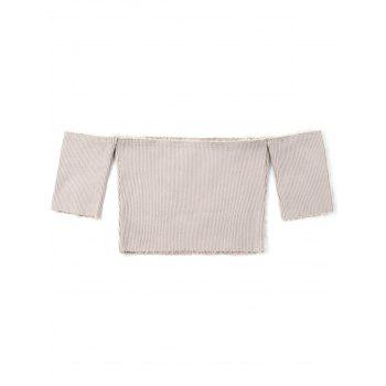 Short Sleeve Raw Edge Ribbed Cropped Knitwear - KHAKI KHAKI