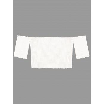 Short Sleeve Raw Edge Ribbed Cropped Knitwear - WHITE WHITE