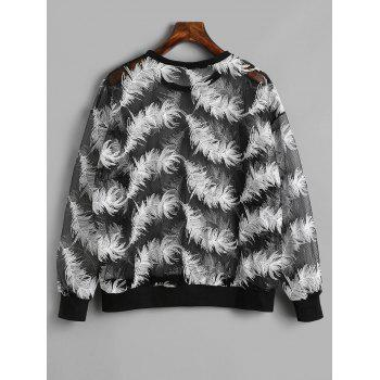 See Through Feather Sweatshirt - BLACK ONE SIZE