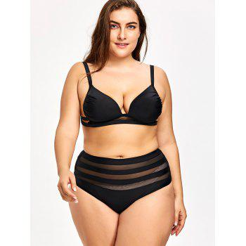 Plus Size Mesh Panel Bikini Set - BLACK 2XL