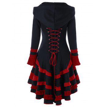 High Low Lace-up Buckle Duffle Coat - BLACK AND RED BLACK/RED