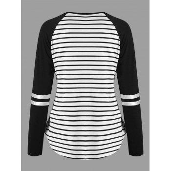 Lattice Neck Striped Curved Top - BLACK L
