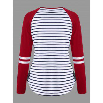 Lattice Neck Striped Curved Top - RED XL