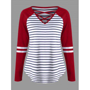 Lattice Neck Striped Curved Top - RED RED