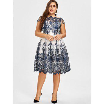 Plus Size Scalloped Lace Tulle Dress - PURPLISH BLUE PURPLISH BLUE