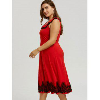 Plus Size Lace Trim Sleeveless Vintage Dress - RED XL