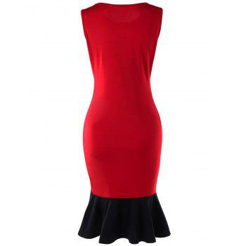 Two Tone Mermaid Dress - RED L