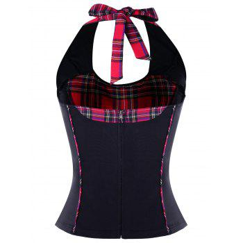 Plaid Lace Up Halter Neck Corset Top - BLACK M