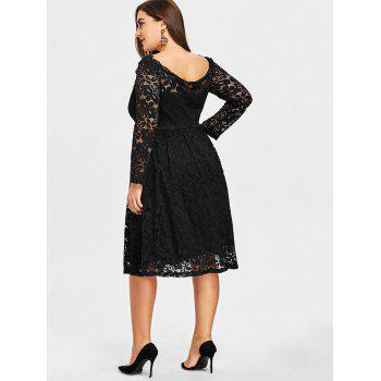 Plus Size Lace Square Neck Formal Dress - BLACK 2XL