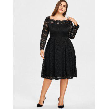 Plus Size Lace Square Neck Formal Dress - BLACK XL