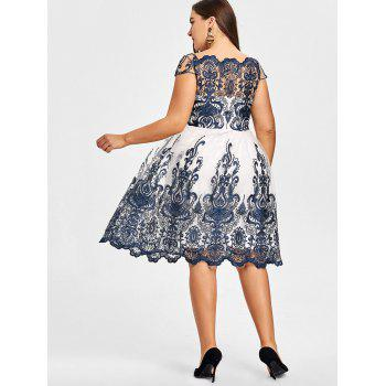 Plus Size Baroque Embroidered Tulle Dress - PURPLISH BLUE 4XL
