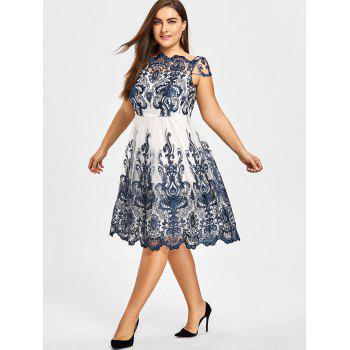 Plus Size Baroque Embroidered Tulle Dress - PURPLISH BLUE 5XL