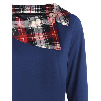 Plus Size Plaid Trim Asymmetrical Top - BLUE XL