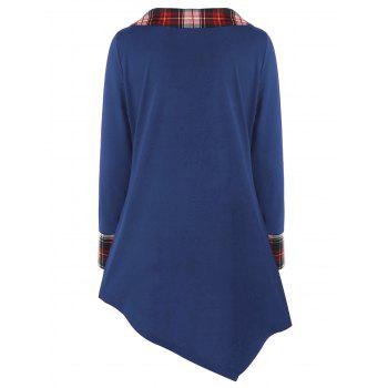 Plus Size Plaid Trim Asymmetrical Top - BLUE 5XL