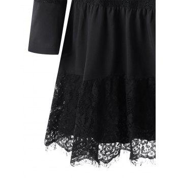 Lace Insert Dress with Slip Dress - BLACK L