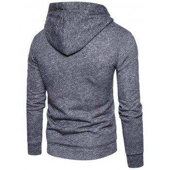 Cotton Blends Zip Up Pouch Pocket Hoodie - DEEP GRAY M