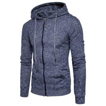 Cotton Blends Zip Up Pouch Pocket Hoodie - CADETBLUE CADETBLUE