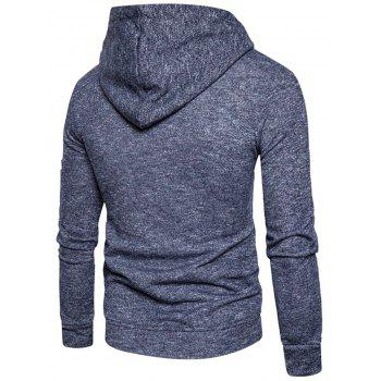 Cotton Blends Zip Up Pouch Pocket Hoodie - CADETBLUE L