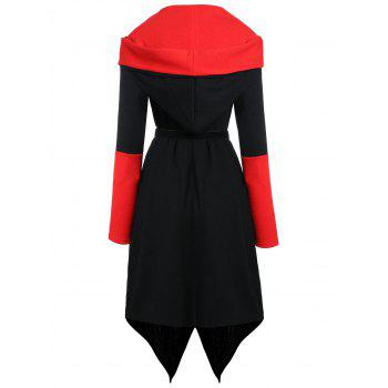 Plus Size Asymmetric Color Block Hooded Coat - BLACK/RED XL