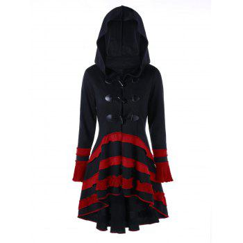High Low Lace-up Buckle Duffle Coat - BLACK/RED XL